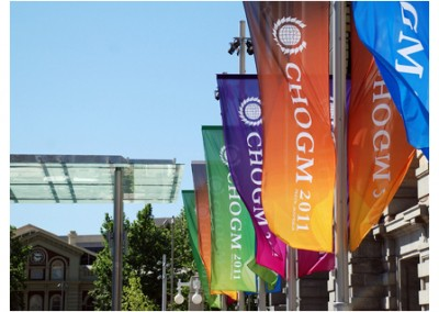 Flags line the Perth CBD streets