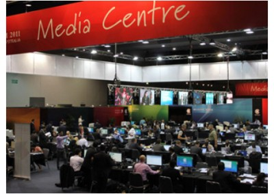 International and local media working in the dedicated centre