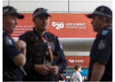 Police patrol the venue