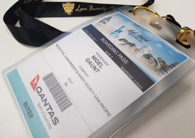 Boarding pass style name badge